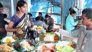 Hard Working Lady Selling Best Roadside Food Hyderabad | Chicken,Boti @ 70Rs | Veg @50 Rs only