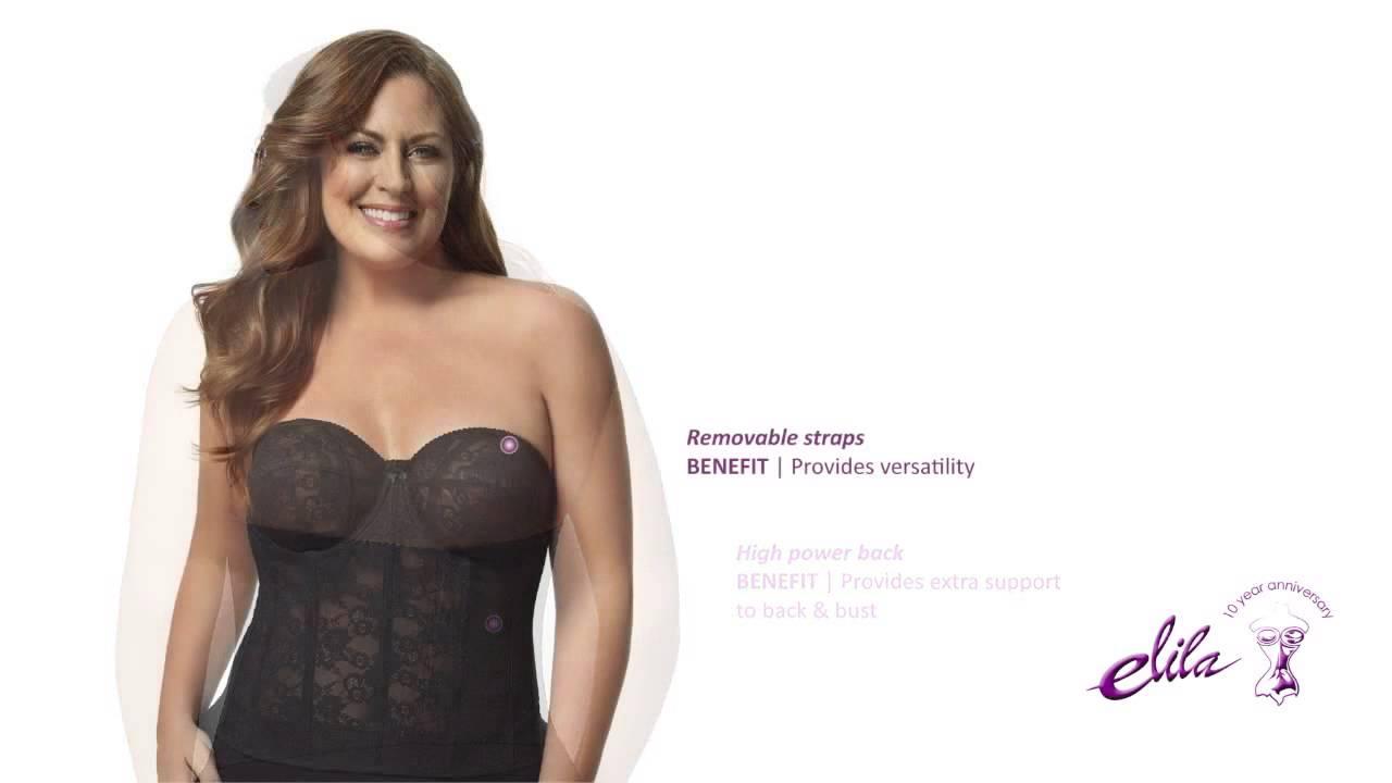 2f5b9742de01f Elila Lace Strapless Longline Plus Size Bra - Style 6621 - YouTube