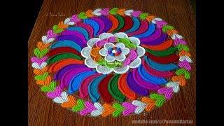 Navaratri special colorful rangoli   Very easy and innovative rangoli design by Poonam Borkar