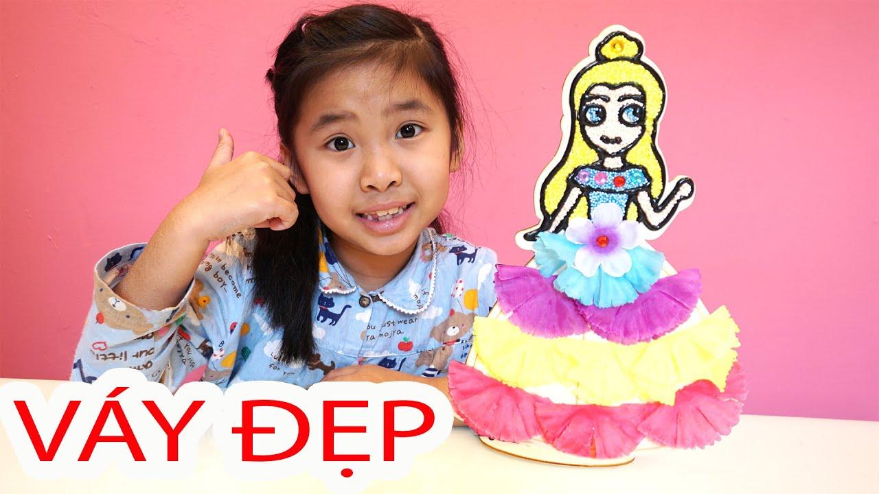 Bé Bún Làm Váy và Tô Màu Công Chúa | DIY Dress and Coloring Princess