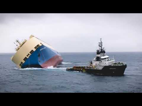 A Car Carrier Ship lost stability  Heroic Rescue Operation