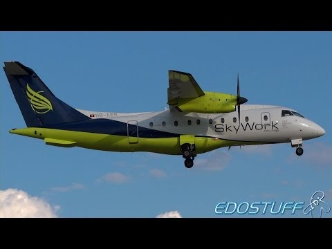 SkyWork Airlines - Dornier 328-110 HB-AER - Landing at Split airport SPU/LDSP
