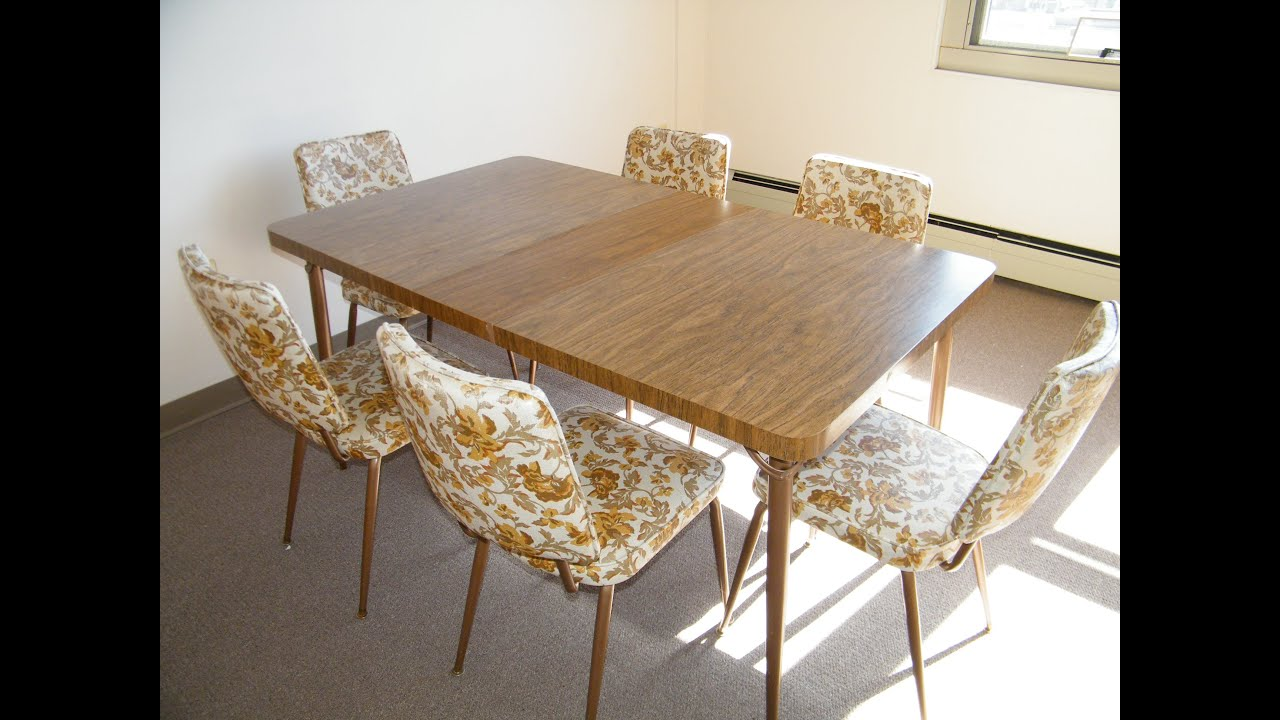 VINTAGE MID CENTURY MODERN 1960s FORMICA FAUX WOOD KITCHEN TABLE with 6 FLORAL CHAIRS - YouTube : vintage kitchen table and chairs set - pezcame.com