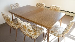 VINTAGE MID CENTURY MODERN 1960s  FORMICA FAUX WOOD KITCHEN TABLE with 6 FLORAL CHAIRS