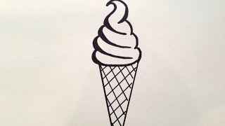ice cream cone drawing icecream draw drawings paintingvalley