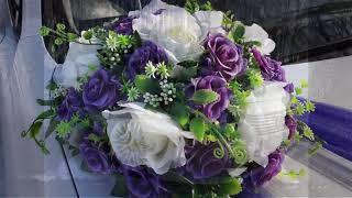 Фиолетовые красивые украшения для свадебных кортежей