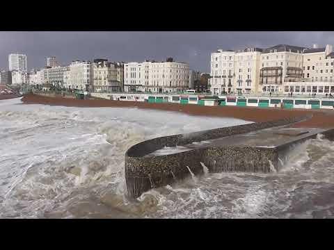 very big stormy sea in brighton uk