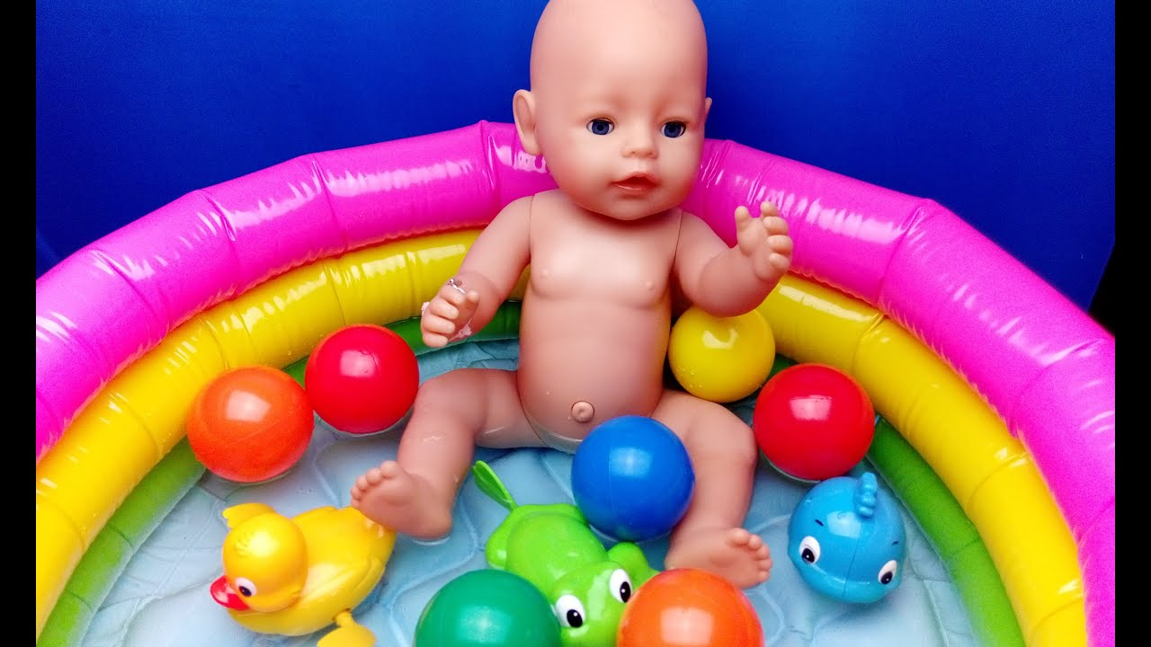 Baby Doll Swimming With Balls and Surprise Toys - Duck Dolphin Frog ...