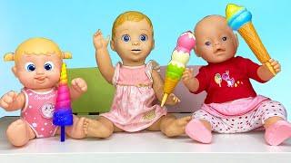 Маша и куклы играют в игру с игрушечным мороженным и другими игрушками