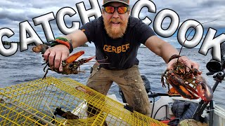 Catch And Cook Maine Lobster Day 3 of 8 Maine Wilderness Living Challenge /Catch And Cook Survival