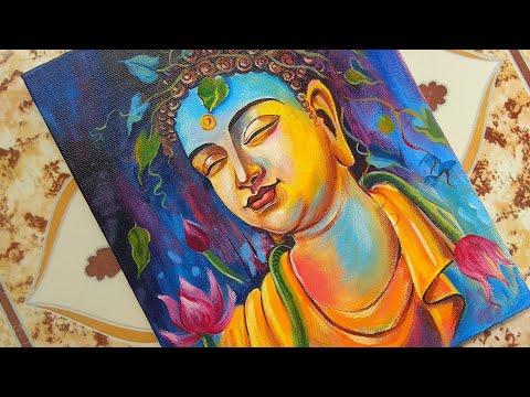 Buddha Painting ||Acrylic Painting on Canvas|| #buddha_painting #art #drawing