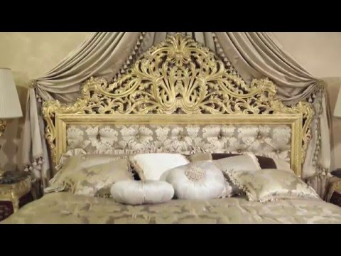 The luxury double bed Emperador Gold in fine carvings and soft fabrics