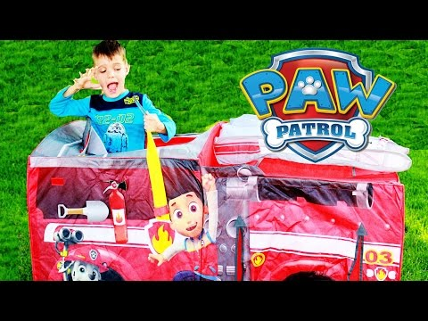 GIANT PLAY HOUSE Paw Patrol Fire Truck Surprise TENT Little Tikes Waffle Blocks Paw Patrol Episodes
