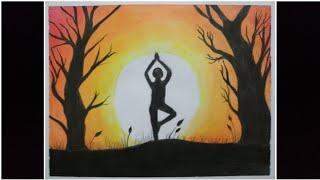 yoga drawing easy oil