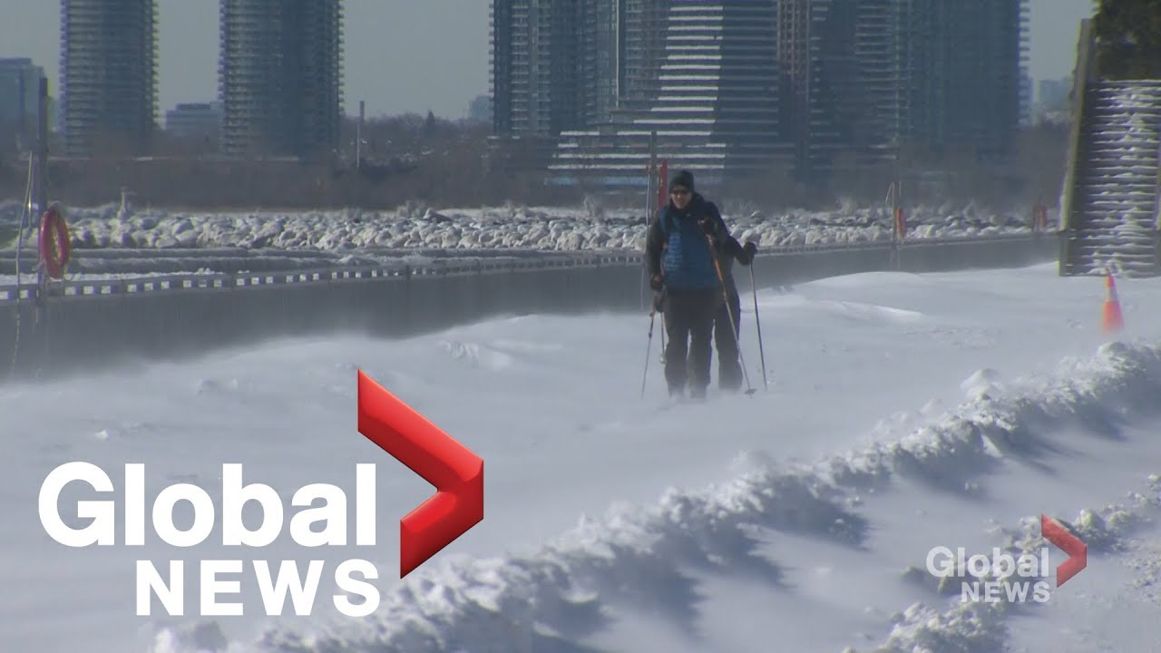 Toronto residents bust out the skis to get around after winter storm dumps snow