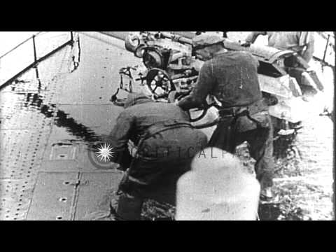 U-boat U-35 sinks a sailing vessel during unrestricted submarine warfare campaign...HD Stock Footage