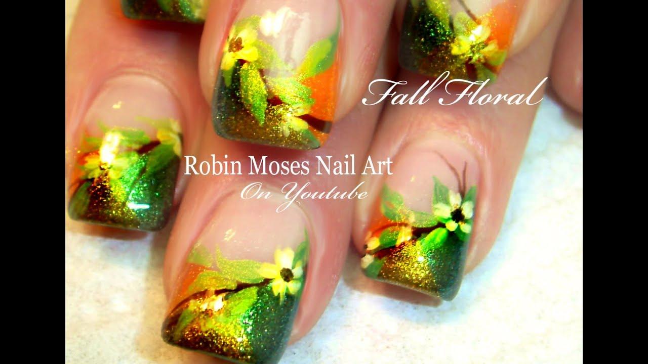Fall Flower Nails Diy Autumn Nail Art Design Tutorial