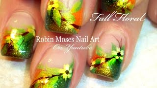 Thanksgiving Nail Art | Diy Fall Flower Nails | Autumn Nail Design Tutorial