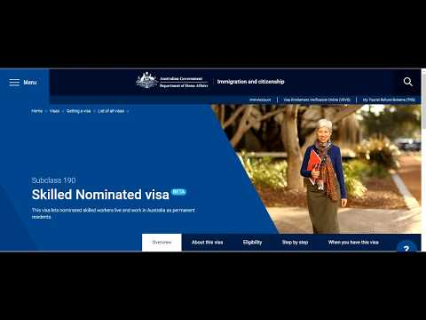 Skilled Nominated Visa Subclass 190 Australia