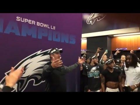 Doug Pederson pumps up Eagles locker room after win over Patriots in Super Bowl LII | ESPN
