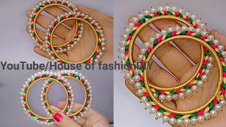 How To Make Silk Thread Bangles At Home//Pearl Bangles..!