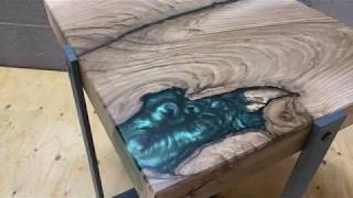 English Walnut Table with Epoxy Resin and Metal Legs