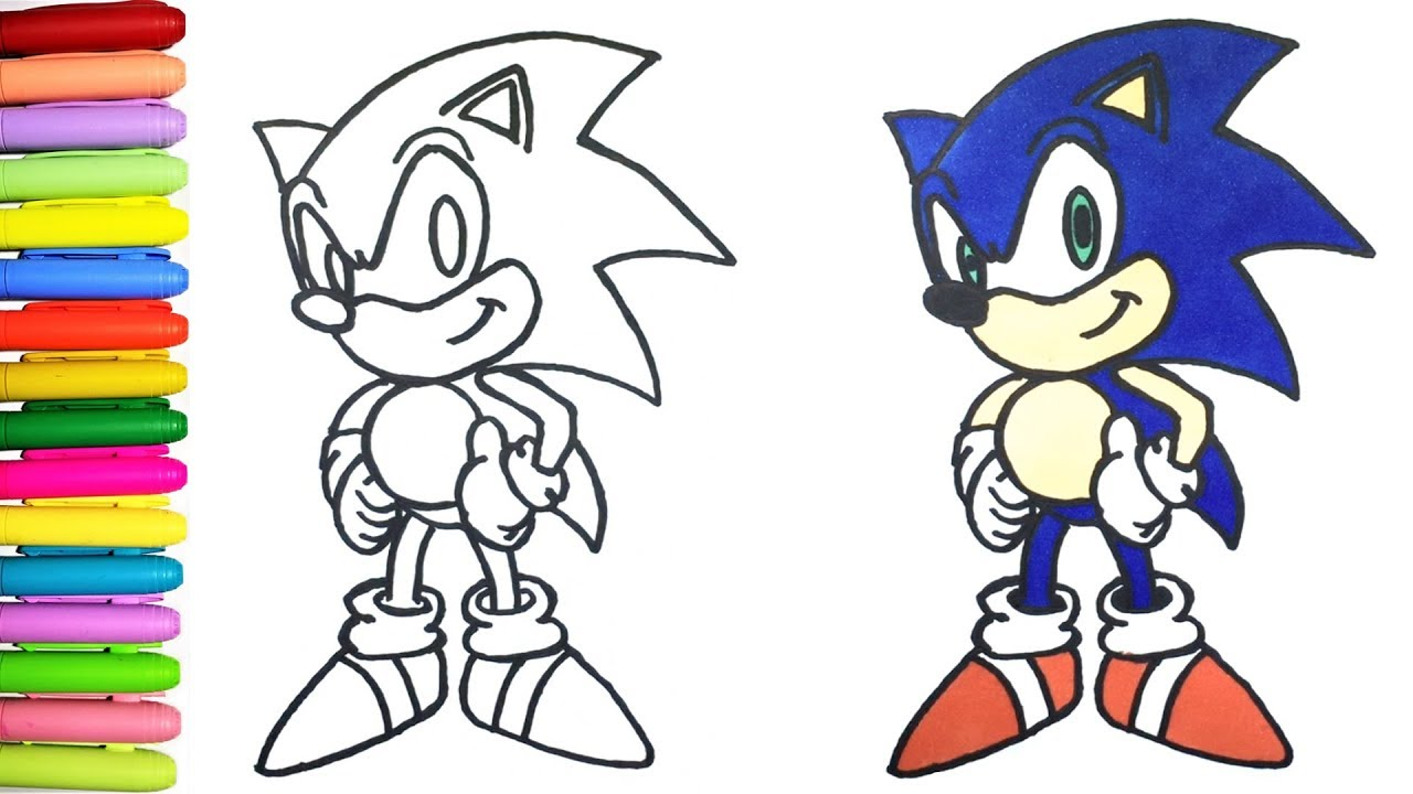 How to Draw and Color Sonic the Hedgehog for Kids - YouTube