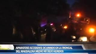 Aparatoso accidente ocurrido en la troncal del Magdalena medio no dejó heridos
