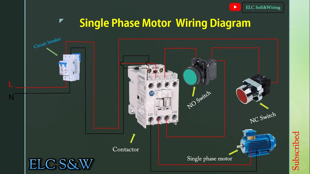 Wiring Diagram , Single Phase Motor Contactor Off , On switches control  Connection . - YouTube | Push On Switch Wiring Diagram Contactor |  | YouTube
