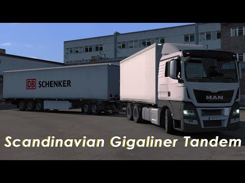 ETS2 1.28   Scandinavian Gigaliner Tandem Drive + Reversing   Dolly Trailer   Doubles   Logitech G29