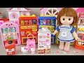 Hello kitty and baby doll mini drink vending machine play Doli house