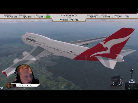 [P3D v4] Winds Gusting to 41 Knots! | Qantas 747 Firm Landing at ORBX Melbourne