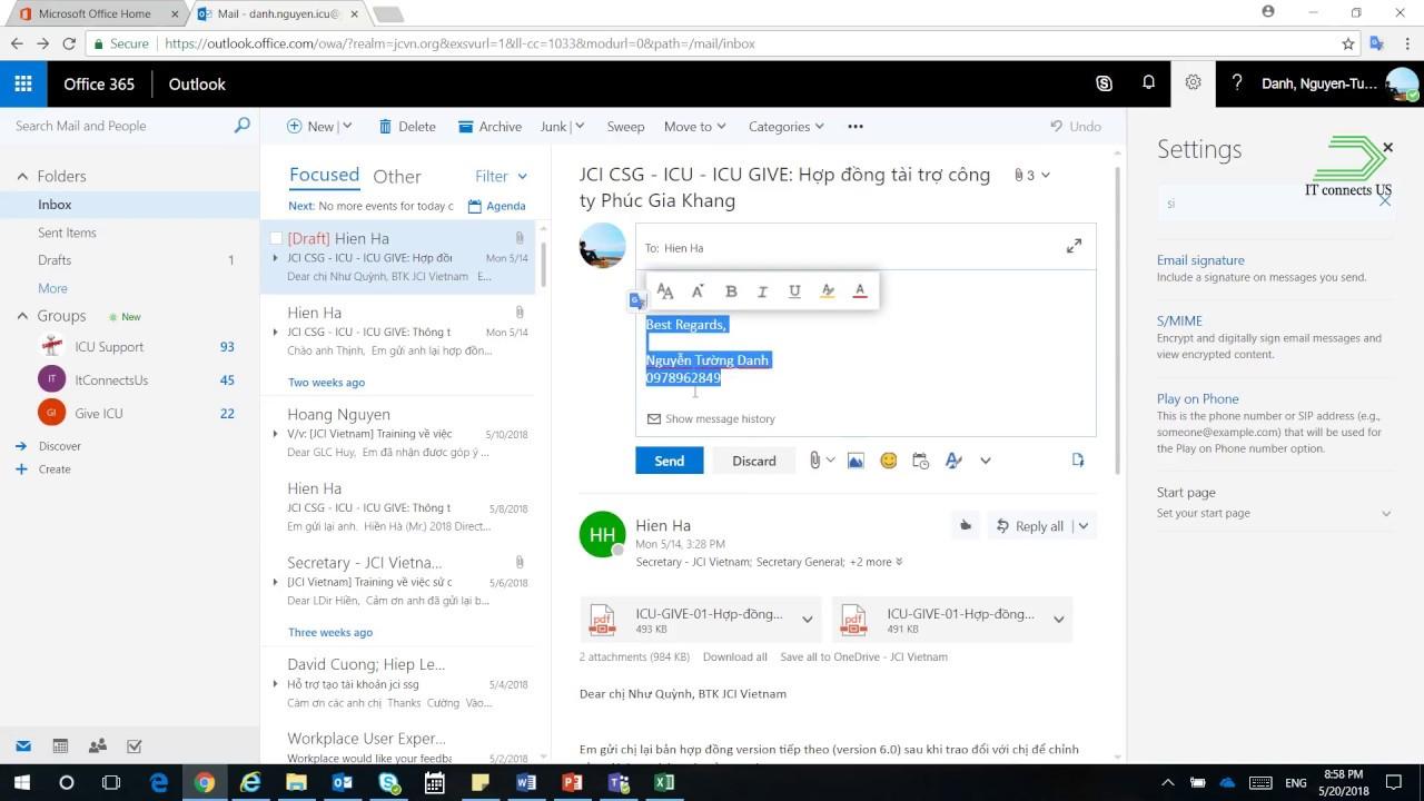 05 Outlook mail Hướng dẫn tạo chữ kí email