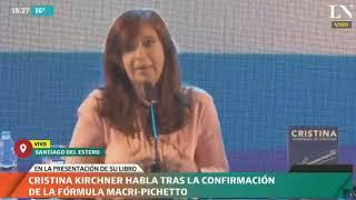Habla Cristina Kirchner tras el anuncio de la fórmula Macri-Pichetto