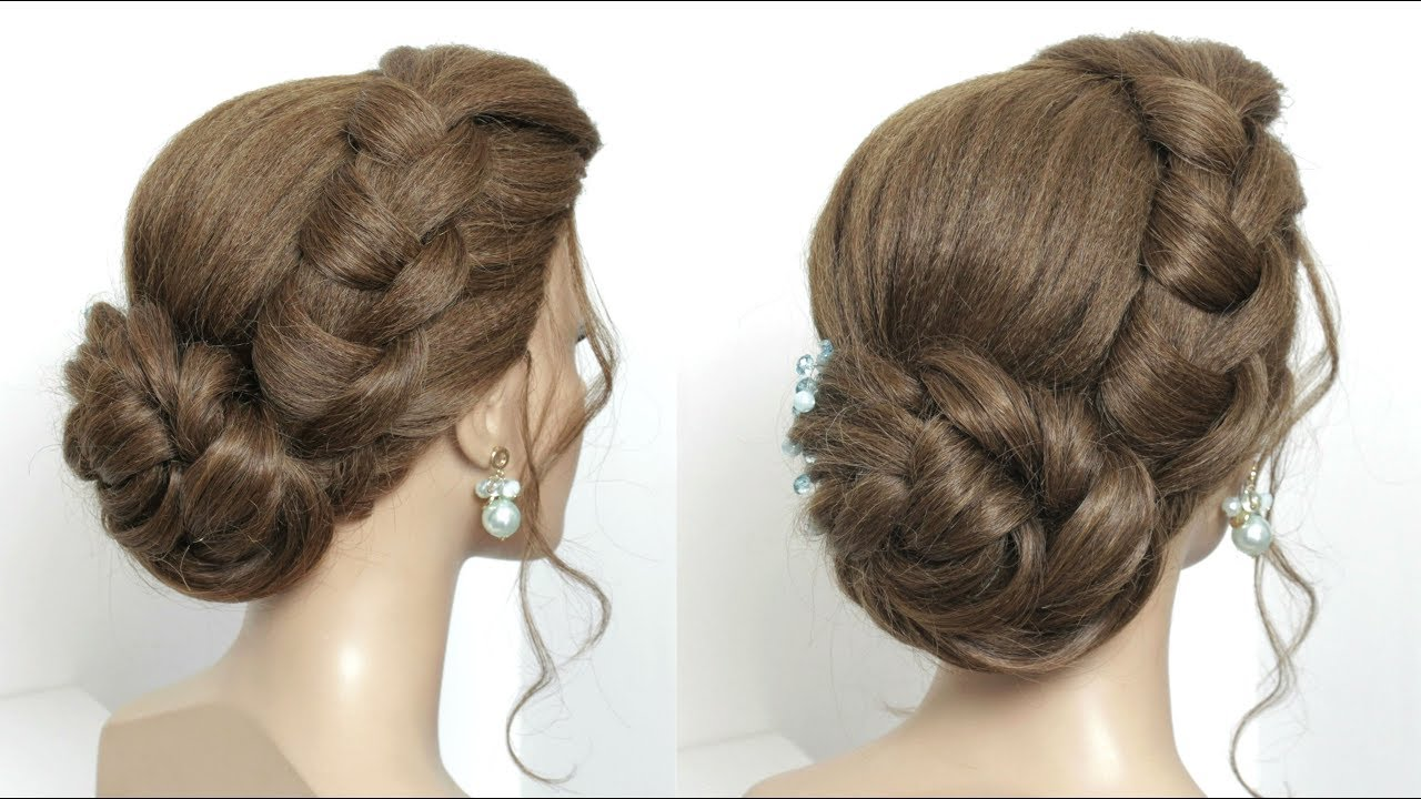 Hairstyles Juda: New Juda Hairstyle For Party. Simple Twisted Hair Bun