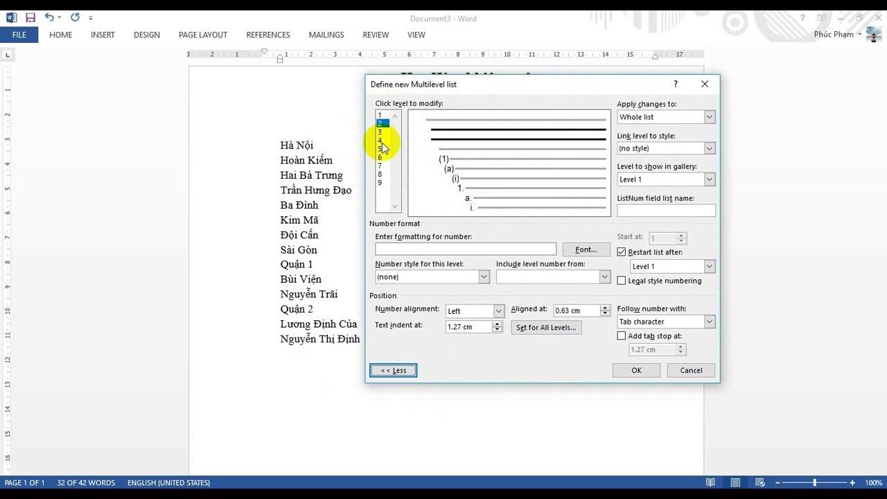 Word 2013: Đánh số tự động Multilevel List (chi tiết)