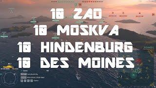 Cruiser Showdown: 10 Zao VS 10 Des Moines VS 10 Hindenburg VS 10 Moskva