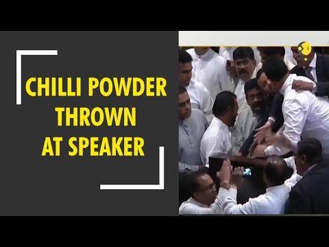 Chaos in Sri Lankan Parliament as Rajapaksa protests throw chilli powder at speaker