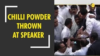 Chaos in Sri Lankan Parliament as Rajapaksa protests throw chilli powder at speaker