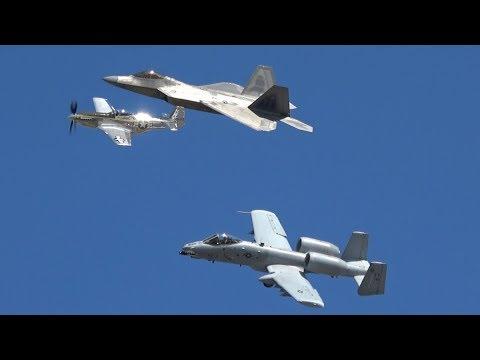 NAS JAX Air Show 2017 USAF Heritage Flight F-22 A-10 P-51