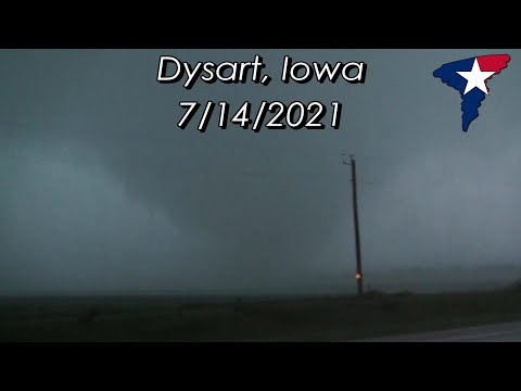 Iowa Tornado Outbreak 7/14/2021 - Close Intercept in Dysart, IA!