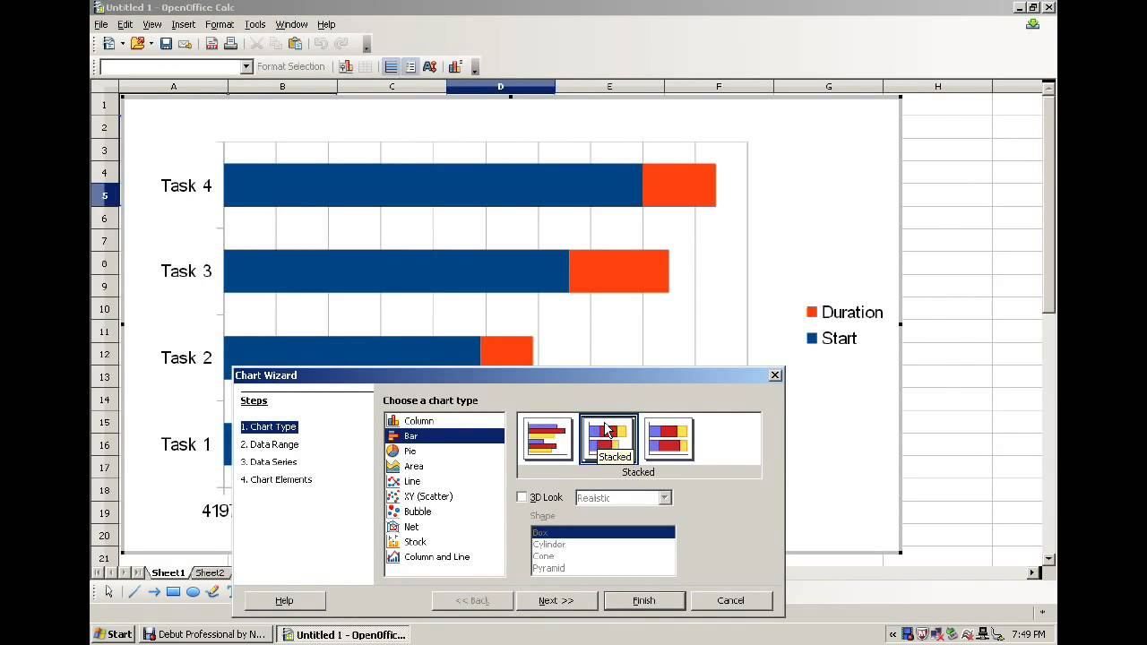 Making a Gantt Chart from Open Office - YouTube