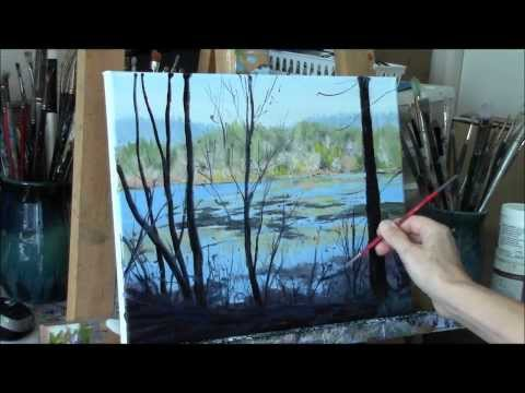 -Acrylic River and Trees Landscape Painting Demo – Reflecting Part 2