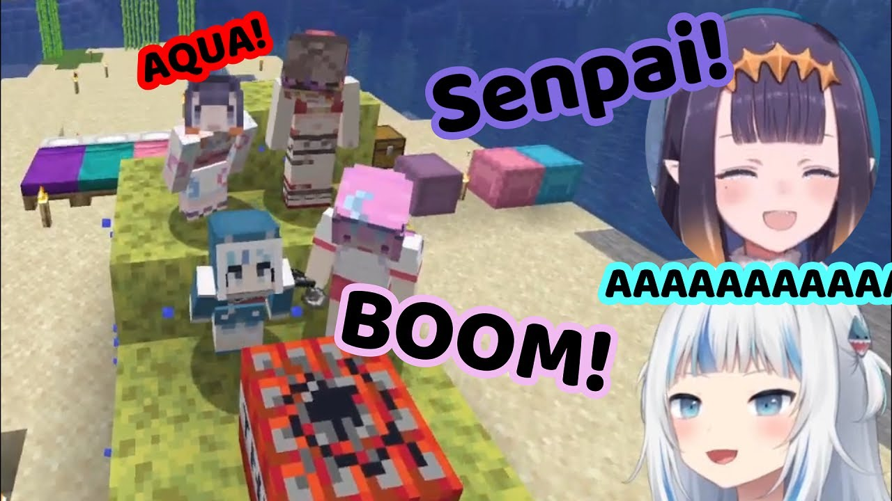 Aqua Blows Up Gura And Ina In The UMISEA Collab! (Hololive)