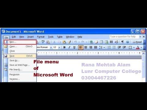 How to Use The File Menu In Ms Word 2003 in Urdu/Hindi - Lunar Computer College