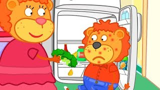 Lion Family Healthy Food - Red Spots Cartoon for Kids