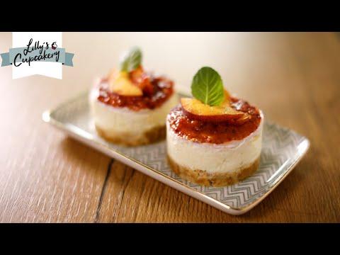 no-bake-cheesecake-mit-zitrone-&-pfirsich-topping-🍋🍑/-lemon-cheesecake-/-amerikanischer-käsekuchen