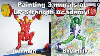 Ironman, She-Hulk & Logo Murals at LP Strength Academy