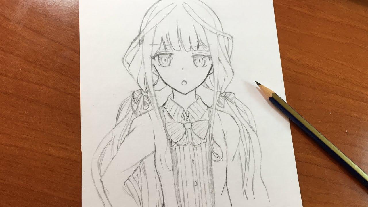 كيفية رسم بنت أنمي باستخدام قلم رصاص واحد فقط دروس رسم الانمي