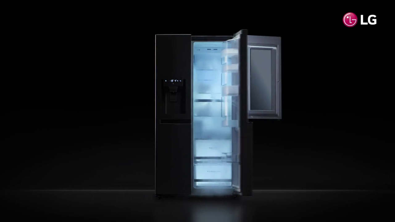 lg instaview amerikaanse koelkast frigo am ricain productvideo youtube. Black Bedroom Furniture Sets. Home Design Ideas